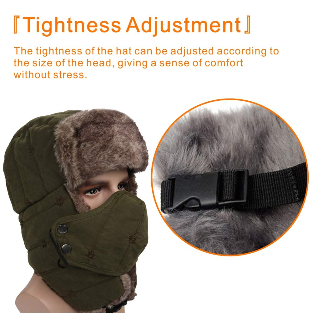 24b4e457 M MOACC Faux Fur Trapper Hat for Men Cotton Warm Ushanka Russian Hunting Hat  Skiing Cap