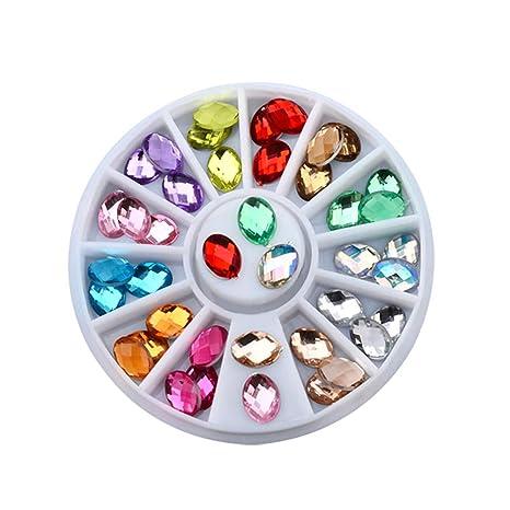 Kanggest.decoración de uñas Arte para Mujer DIY Ovalado Adorno Navidad Serie Parche Dorado Ruedas