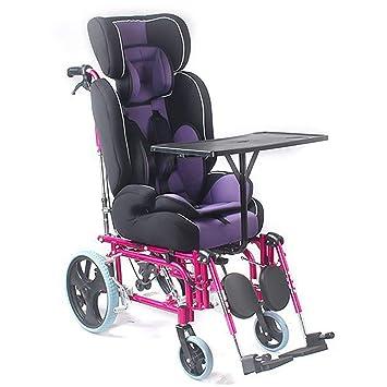 QETU Silla de Ruedas Manual para niños con Respaldo Alto - Aleación de Aluminio Ligera con Mesa de Comedor Parálisis Cerebral Trolley reclinado para niños: ...