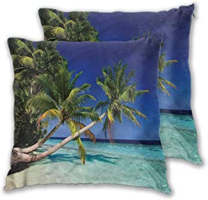 Anyangeight Printed Throw Pillow Cover, Ocean Maldives Bay Resort Comfy and Lovely Cushion Cover for Couch Bench, 2PCS - W26 x L26 inch