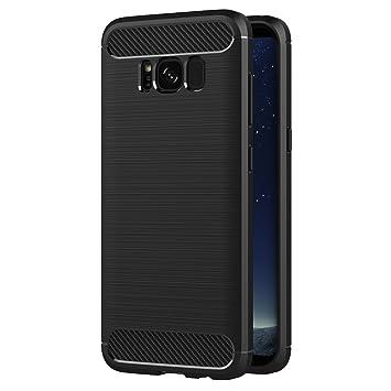 AICEK Funda Samsung Galaxy S8, Negro Silicona Fundas para Galaxy S8 Carcasa S8 (5,8 Pulgadas) Fibra de Carbono Funda Case