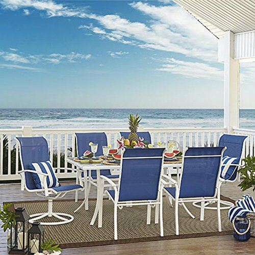 7 Piece Dining Set Perfect for Any Outdoor Dining Set Needs. This Is One of Many Dining Table Sets on Sale. Patio Dining Sets Are Great for Backyard Parties. (Blue - Furniture Oasis Outdoor