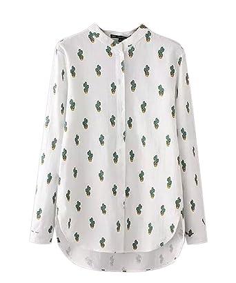 a193b8cc9b7 OUCHI Women Long Sleeve Lapel Collar Top Blouse Cactus Printed Button Shirt  White