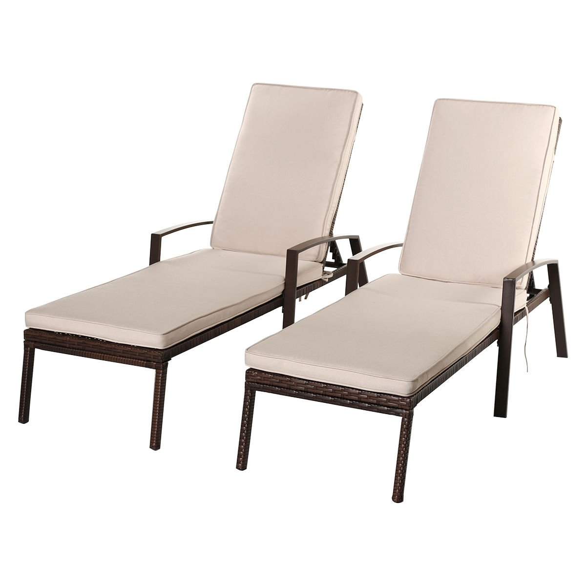 Tangkula Wicker Chaise Lounge Outdoor Patio Adjustable Lounger Chair Set of 2
