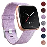 QIBOX Bands Compatible Fitbit Versa, Woven Fabric Wrist Strap Watch Special Edition Replacement Bands Classic Square Stainless Steel Buckle Compatible Fitbit Versa Smart Watch (Lavender)
