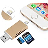 Fixget 3 in 1 USB Memeory Card Reader, Micro SD/TF/SD Card Reader Adapter With Lightning, USB & Micro USB Interfaces, USB/Lightning Memory Card Reader for Android Device/Mac/PC/iPhone/iPad/IOS - Gold