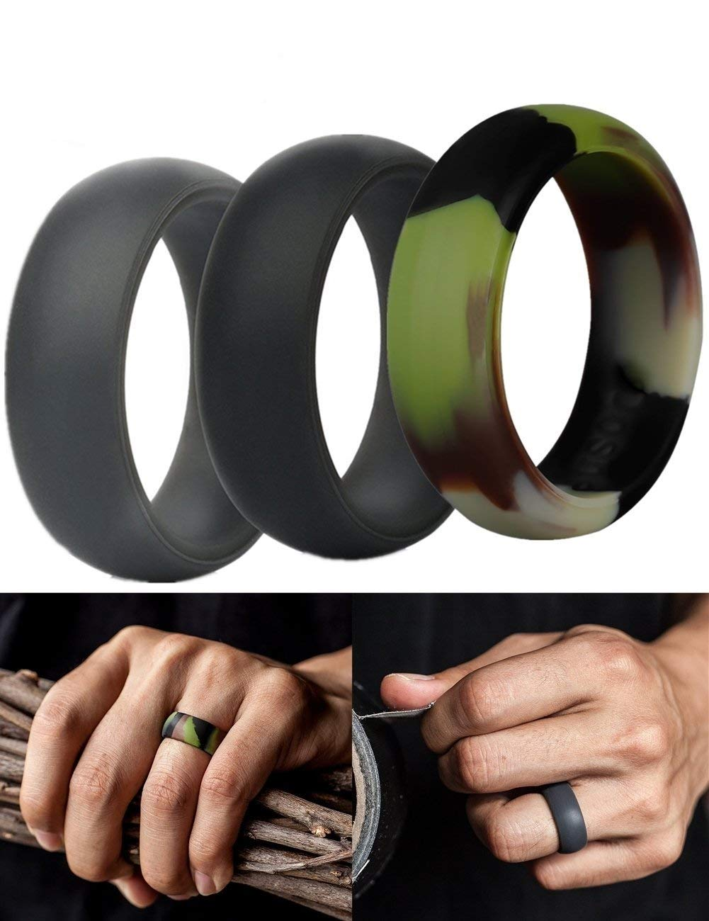 Silicone Rings Wedding, Runfish Affordable Silicone Rubber Band for Men Silicone Rubber Ring 3-Pack, Black, Camo, Grey, Size 12