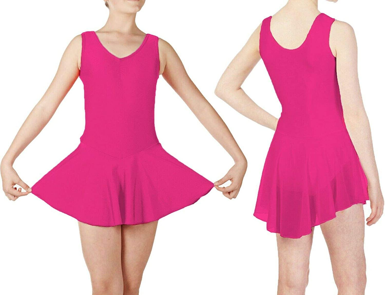 RSVH KLS Kids Sleeveless Ballet Dance Leotard with Shiny Nylon Lycra Skirt