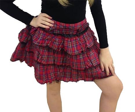86a96b0b8f Ladies Crazy Chick Red and Blue Tartan Skirt Women Girls Fancy Dress Party  Skirt (UK 10, Red Tartan): Amazon.co.uk: Clothing