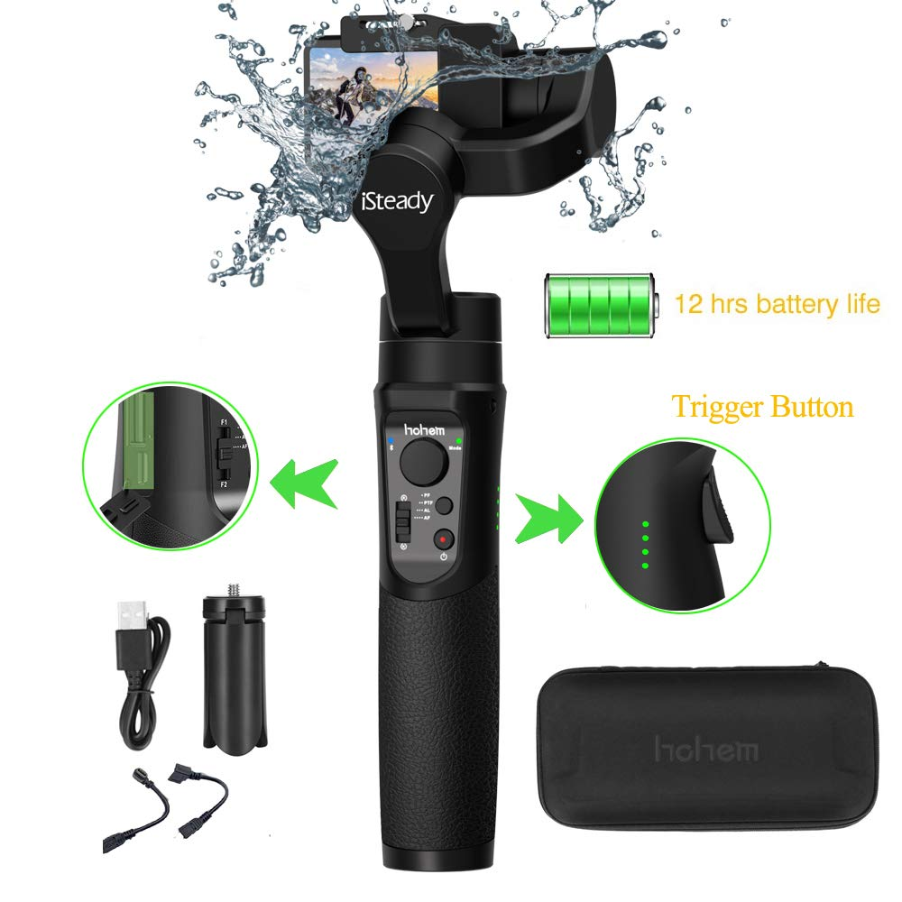 Hohem iSteady Pro 2 (2019 New Model 3-Axis Splash Proof Handheld Gimbal Stabilizer Gimbal Compatible with DJI Osmo Action, GoPro 2018 7/6/5/4/3, RX0, AEE, SJCAM, YI-CAM, 12 H Run time,Auto Panorama by hohem