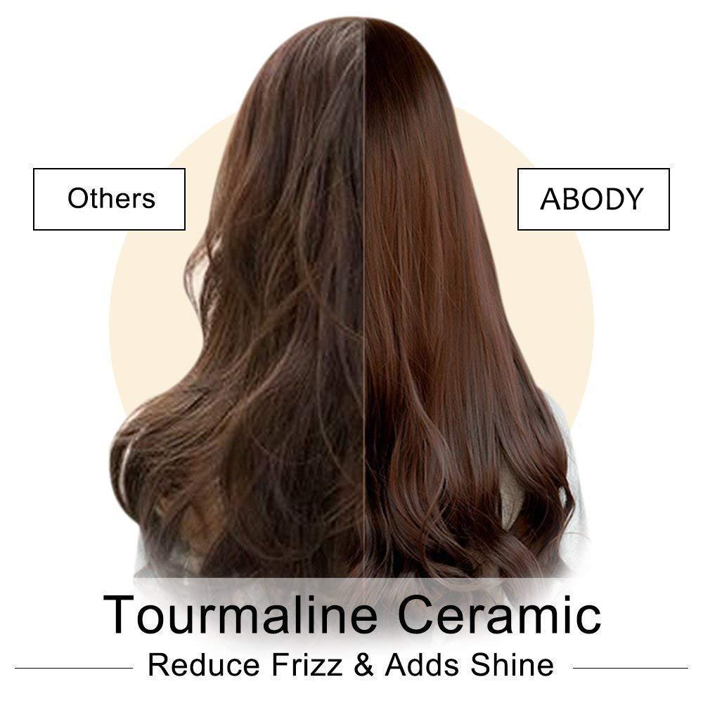 Abody tenacillas de pelo profesional, revestimiento de cerámica turmalina profesional pelo rizador con cabello barril grande, Ajuste de calor 60 ℃ de 220 ...