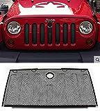 E-cowlboy Stainless Front Hood Grille Bug Screen 3D Mesh Grill Insert Black for Jeep Wrangler Rubicon Sahara Jk 2007-2016