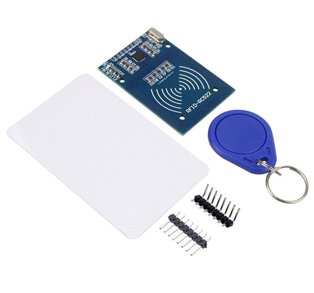 5pcs Extra Llavero como Regalo M/ódulo de Lector MFRC-522 RF IC con RFID Sensor Arduino Chip Tarjeta S50 13.56 MHz para Mifare Arduino Raspberry Pi IZOKEE Kit RFID RC522 1 x Kit de RFID