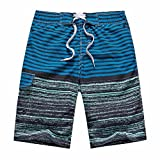 ZIITOP Men's Swim Trunks Quick Dry Water Beach Board Shorts Striped Sportwear Striped Sea Blue XXL