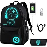 FLYMEI Anime Cartoon Luminous Backpack with USB Charging Port and Anti-theft Lock & Pencil Case, Unisex Fashion College Schoo