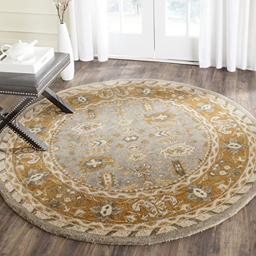 Safavieh Anatolia Collection AN590A Handmade Traditional Oriental Light Grey and Gold Wool Round Area Rug (6' Diameter) ()