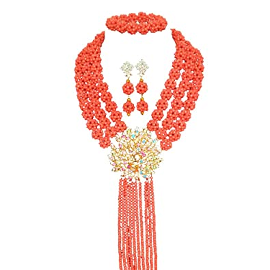42a80fe0bc29 Juego de joyería de cuentas africanas de boda de 3 filas naranja para  novia