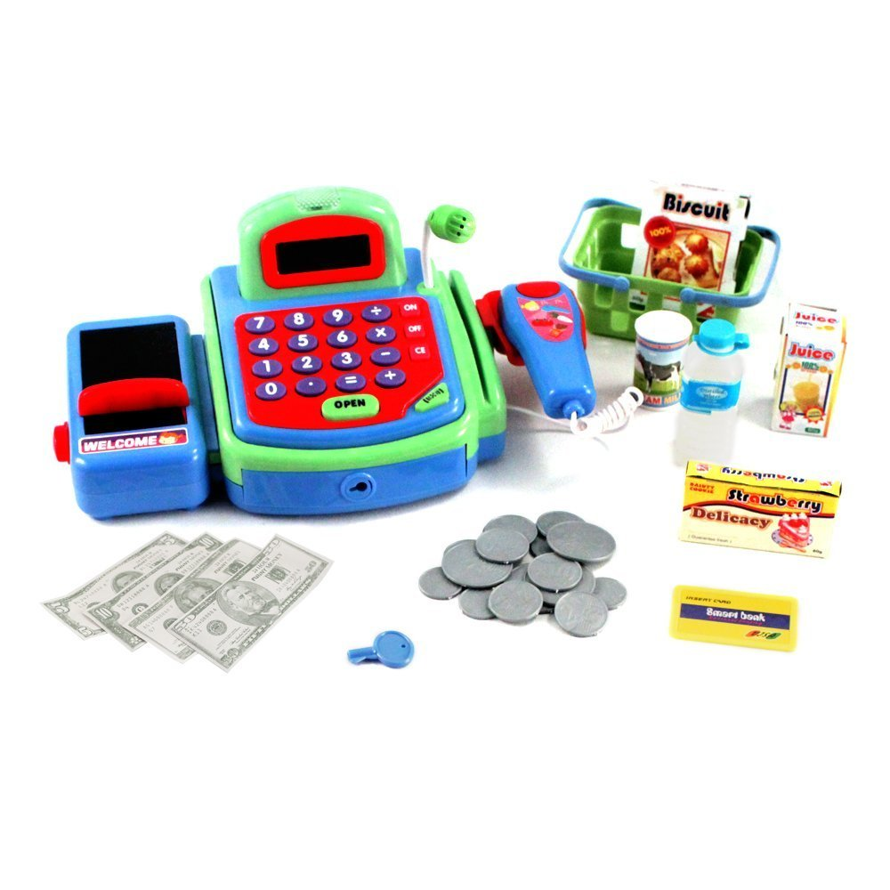 PowerTRC® Pretend Play Electronic Cash Register Toy Realistic Actions & Sounds (Green)