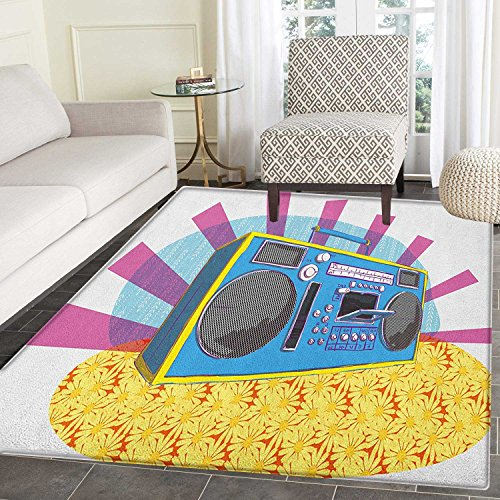 70s Party Area Silky Smooth Rugs Retro Boom Box in Pop Art Manner Dance Music Colorful Composition Artwork Print Floor Mat Pattern 4'x6' Multicolor by smallbeefly