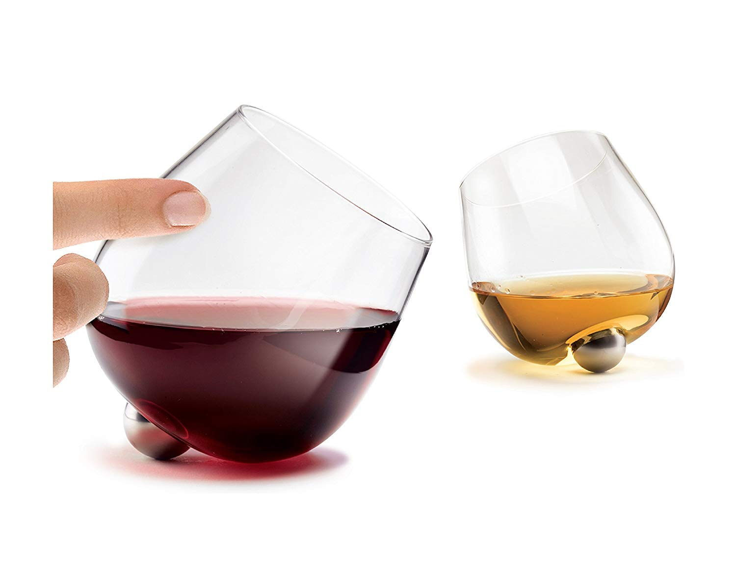e99993ce57b Aura Glass 14oz Stemless Aerating Wine Glasses (Set of 2) - No Spill  Spinning Glass Tumblers for Red or White Wines - Includes 2 Wood Oak  Coasters, ...