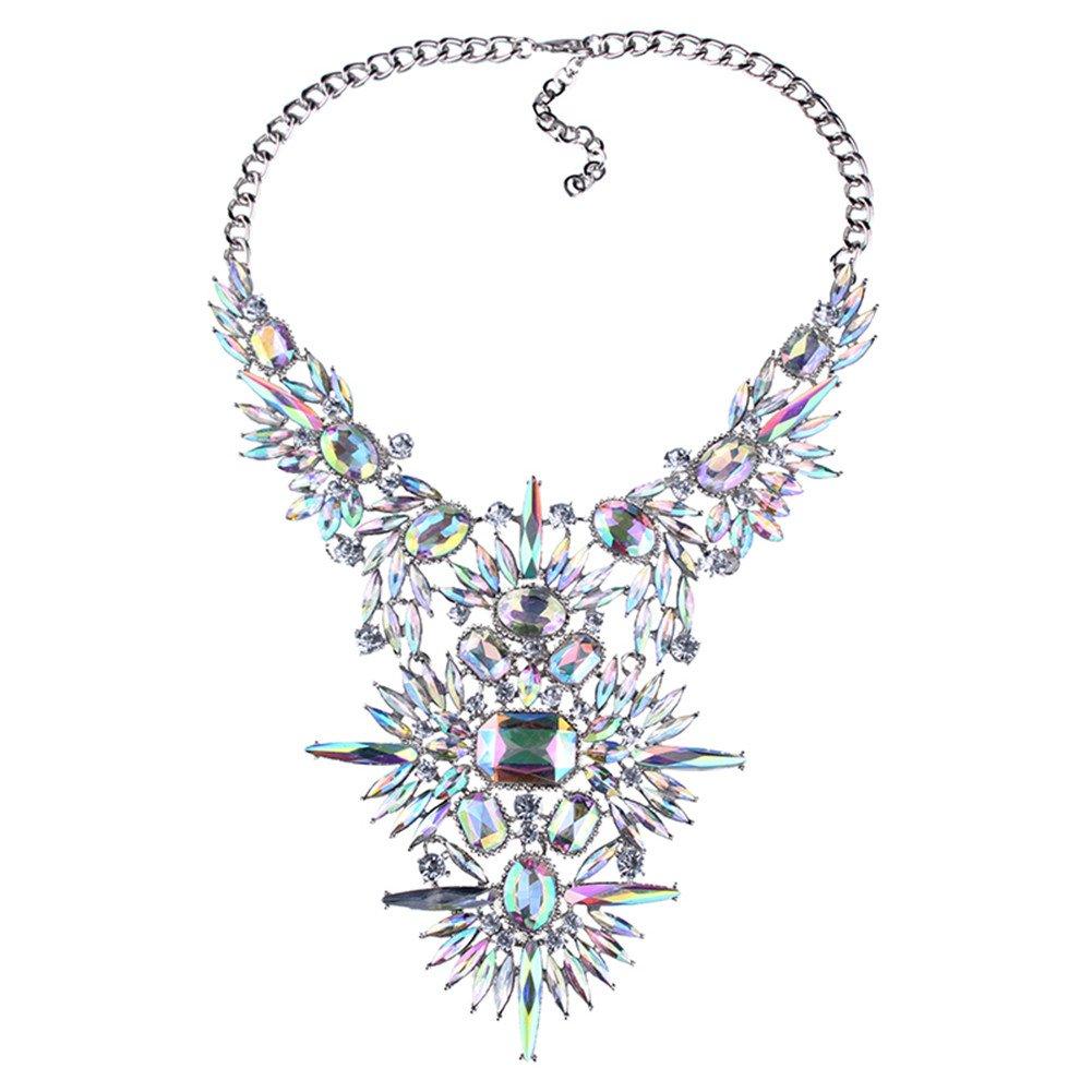 NABROJ Statement Bib Necklace Large Bold Stunning Gorgeous Jewelry Crystal 1PC Gift Box-NC02 Crystal
