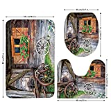3 Piece Bathroom Mat Set,Shutters,Weathered Window with Flowers in Pot Wheels Farmhouse Rural Scene Front View,Brown Green Red,Bath Mat,Bathroom Carpet Rug,Non-Slip