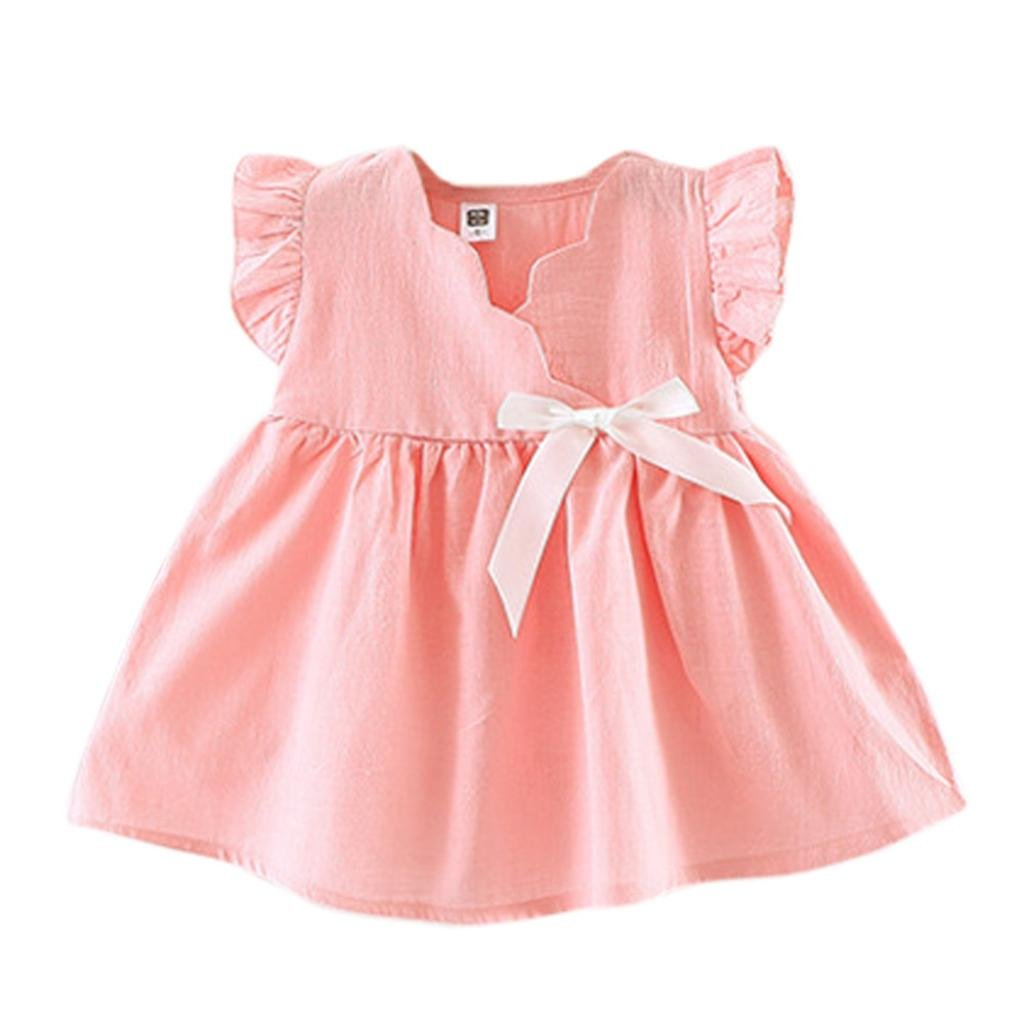 Kingko_ Kinko® 6-24 Months Baby Girls Sweet Princess Bowknot Dress Butterfly Sleeve Pageant Communion Baptism Party Flower Girl Dress