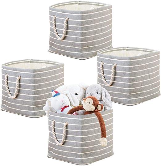 mDesign Juego de 4 Cajas organizadoras con Tiradores de Cuerda - Práctica Caja para Guardar Juguetes - Caja para organizar el Cuarto de los niños - Gris/Crema: Amazon.es: Hogar