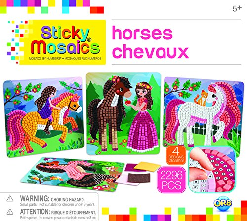 The Orb Factory Sticky Mosaics Horses Arts & Crafts, Brown/Yellow/Pink/Green, 12'' x 2'' x 10.75'' by The Orb Factory (Image #1)