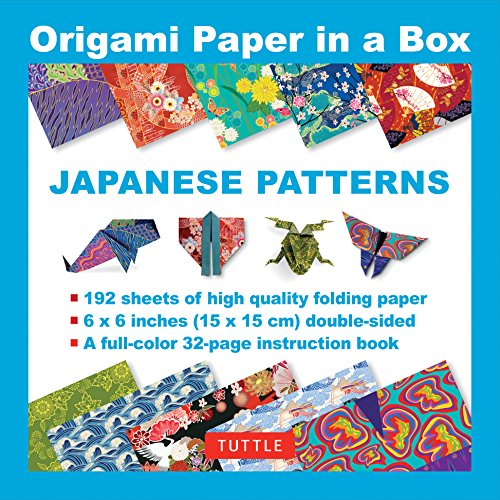 Price comparison product image Origami Paper in a Box - Japanese Patterns: 192 Sheets of Tuttle Origami Paper: 6x6 Inch High-Quality Origami Paper Printed with 12 Different Patterns: 32-page Instructional Book of 12 Projects