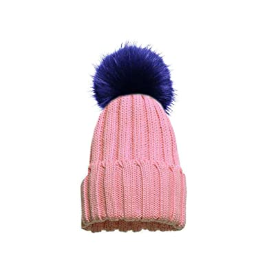 e64a9a1c5f5 Custom Faux Fur PomPom Knitted Winter Beanie Hat  Amazon.co.uk  Clothing