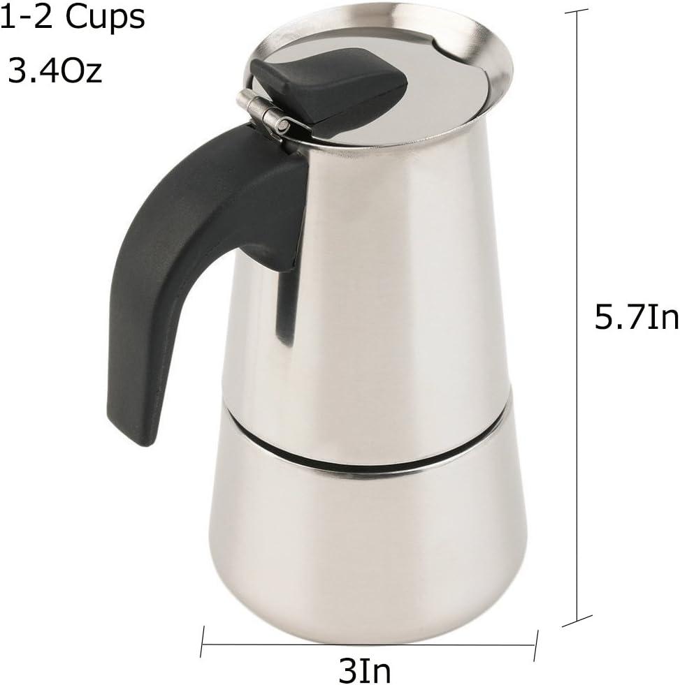 Amazon.com: Cafetera espresso con tapa para estufa, de acero ...