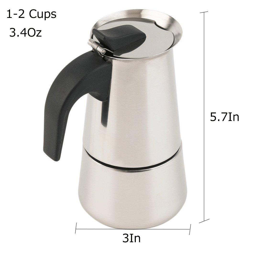 Espresso Maker Stovetop Moka Coffee Pot Stainless Steel Latte Percolator with Bonus Scoop (2 Cups/100 Milliliter) by Espresso Maker (Image #3)