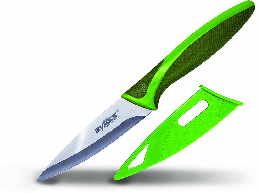 amazon com zyliss paring knife with sheath cover 3 5 inch amazon com zyliss paring knife with sheath cover 3 5 inch stainless steel blade green paring knives kitchen dining