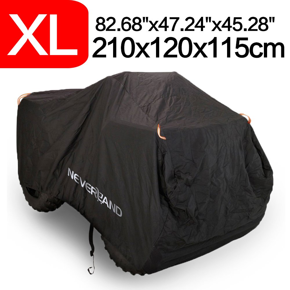 NEVERLAND NL225-05-XL-VC XL Custom Waterproof Quad ATV Cover Universal fit Polaris Honda Yamaha Can-Am Suzuki XL (86.28''x 47.24'' x 45.28''), Black (Exterior) & Silver (Interior)