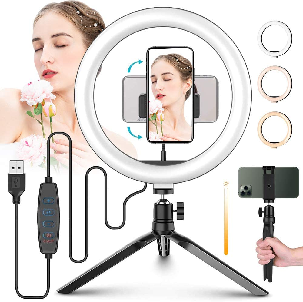 Phone Holder//Dimmable Mobile Live Fill Light Photographic Lighting HULYZLB Fill Light10in LED Ring Light with Tripod Stand for YouTube Video