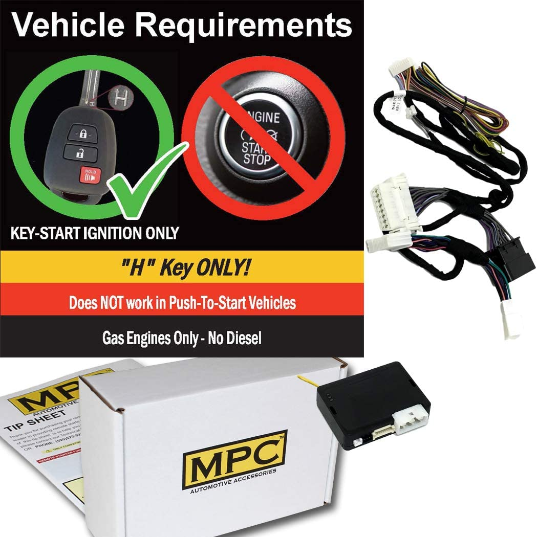 MPC Complete Factory Remote Activated Remote Start Kit for 2015-2019 Toyota Sienna with T-Harness Firmware Preloaded