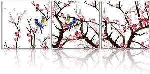 Oiney Hummingbird & Plum Blossom Canvas Wall Art 3 Panels Natural Modern Wall Art Decor for Home,Office,Hotel