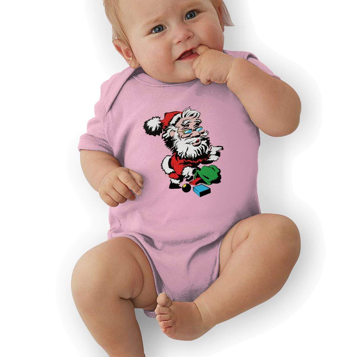 Infant Baby Girls Bodysuit Short-Sleeve Onesie Merry Christmas Funny Santa Print Outfit Summer Pajamas