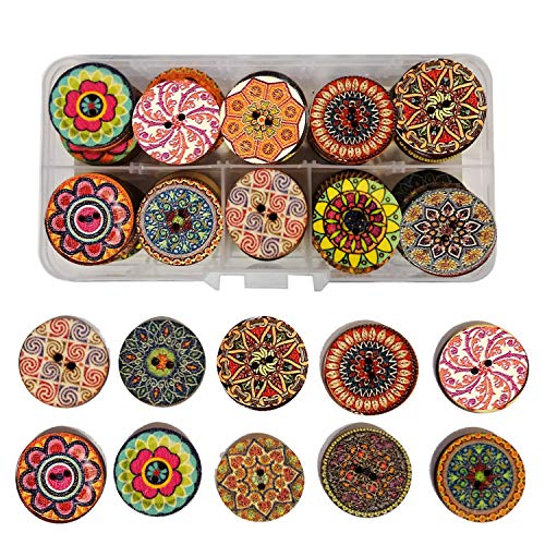 Assorted Wooden Boxes - IDOXE Vintage Flower Wood Buttons with Gift Box, 2 Holes 1 Inch Assorted Round Wooden Buttons for DIY Decorative Sewing Craft Christmas