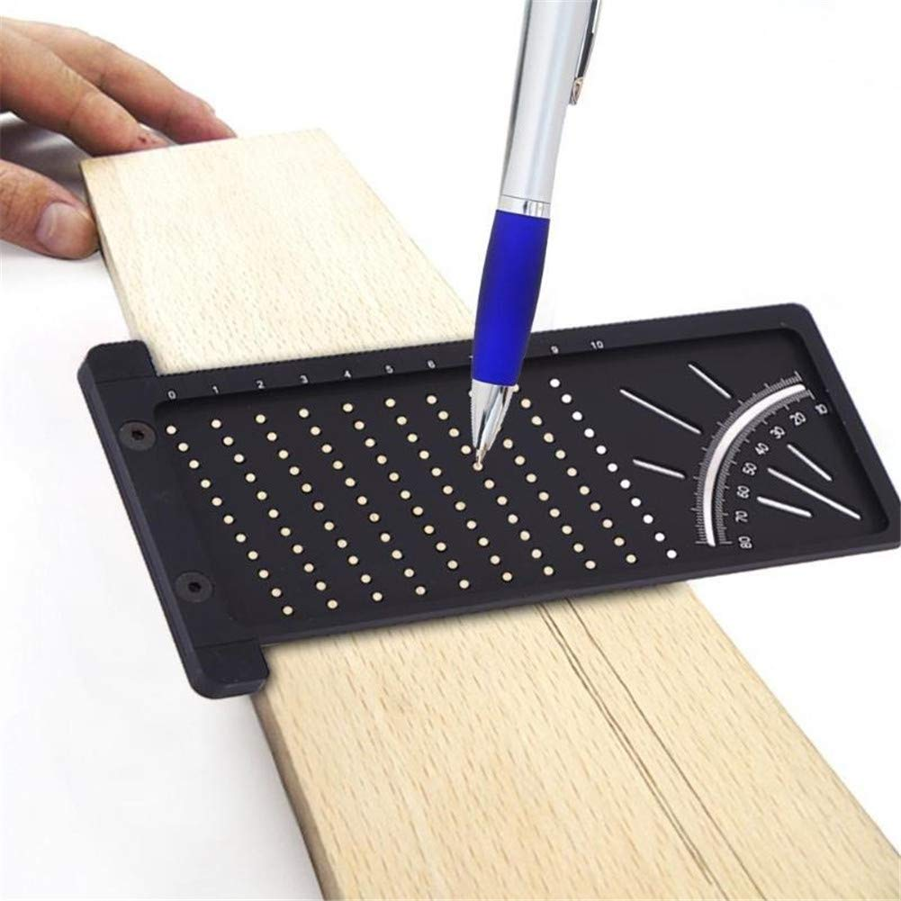 LXLJ Aluminum Alloy Precision Woodworking Scribe Mark Line Gauge T-Type Cross-Out Ruler 3D Measuring Ruler Gauge DIY Carpentry Woodworking Tools