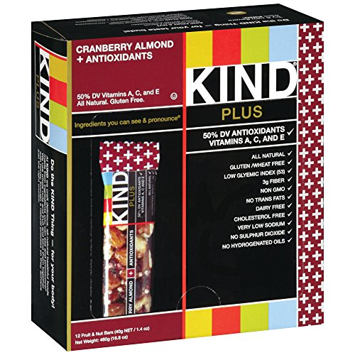 Kind Fruit and Nut Bars Cranberry Almond & Antioxidants, 1.4 oz, 12 Count (Pack of 5) by Kind