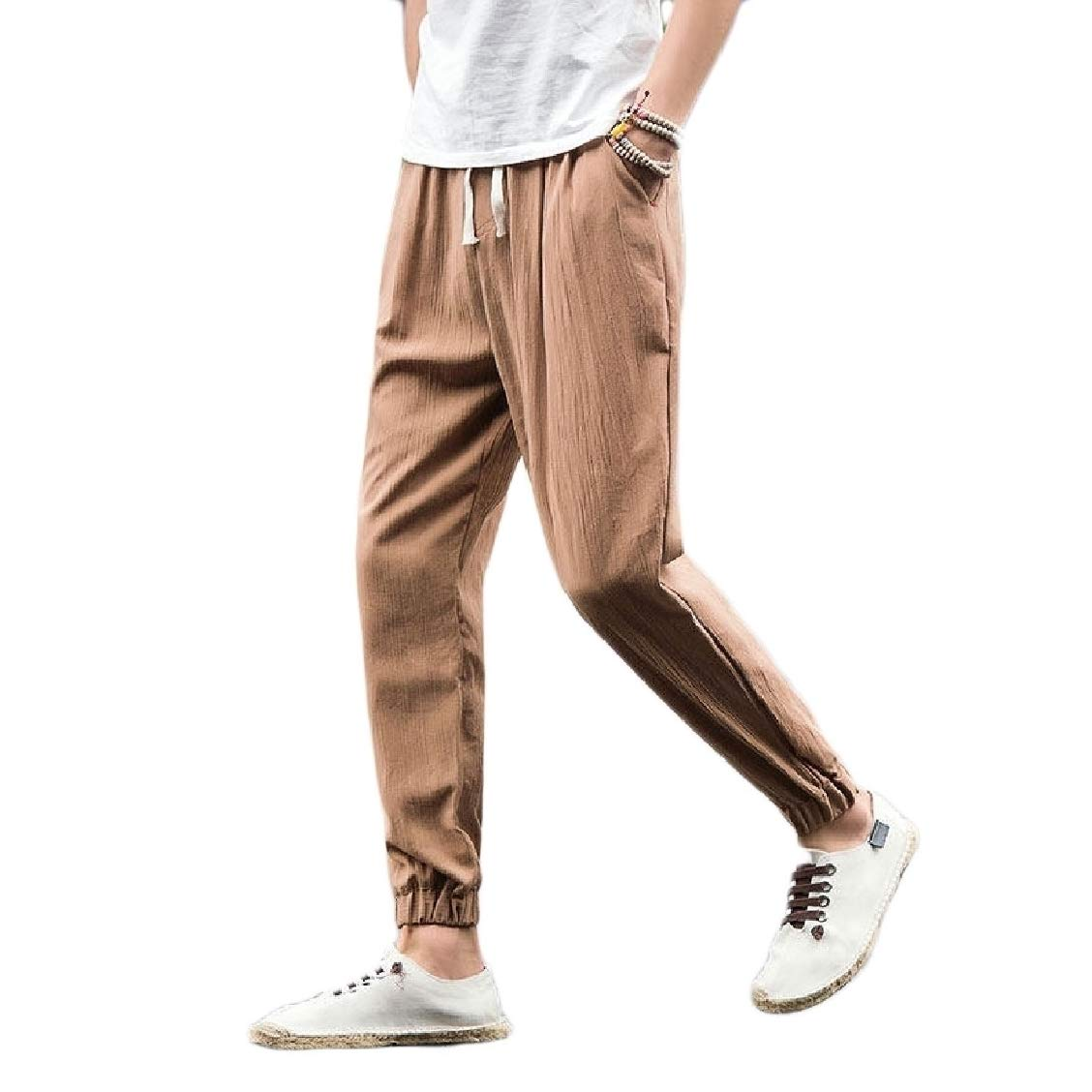 Freely Mens Oversize Chinese Style Classics Linen Trousers Pants Khaki 4XL