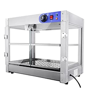 """PNR 2-Tier 110V Commercial Countertop Food Pizza Warmer 750W 24x20x15"""" Pastry Display Case"""