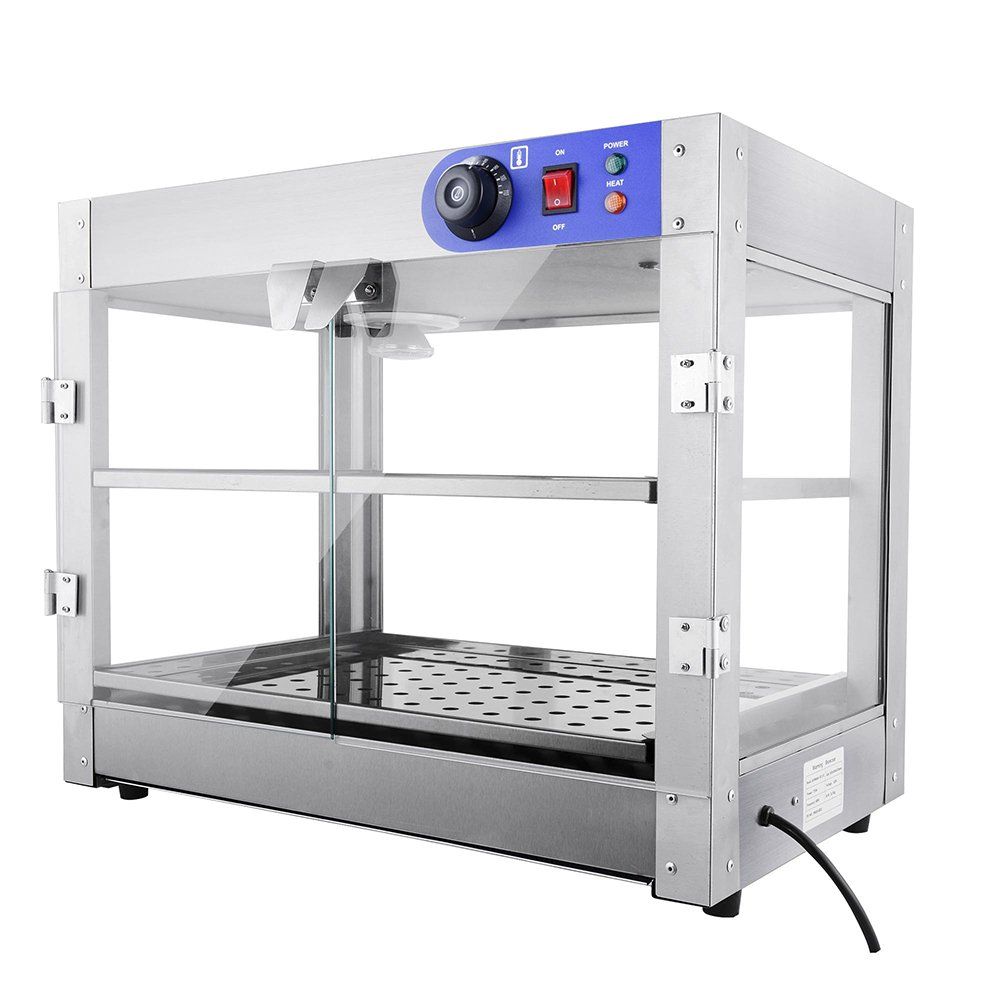 PNR 2-Tier 110V Commercial Countertop Food Pizza Warmer 750W 24x20x15'' Pastry Display Case