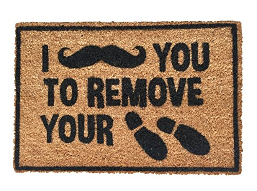 Funny doormat outdoor welcome mat 'I [moustache] you to...