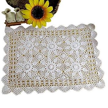 Yizunu - Mantel Rectangular de algodón con Encaje de Ganchillo, White 40x60cm: Amazon.es: Hogar