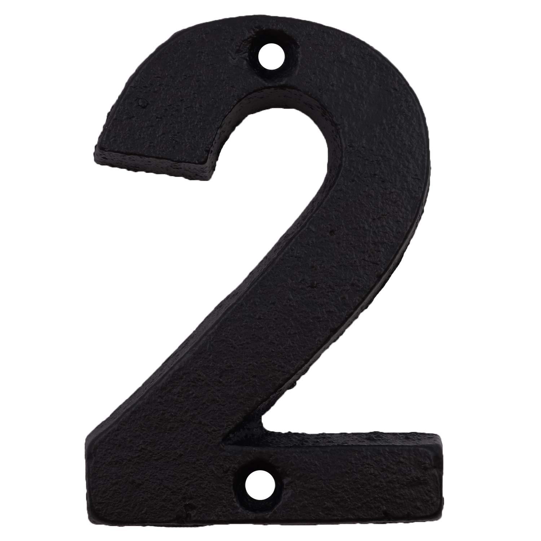 n/úmero de direcci/ón o buz/ón de correo de hierro fundido /único tornillos a juego incluidos N/úmeros de casa de 3,6 pulgadas Number 4 n/úmeros elegantes con acabado negro