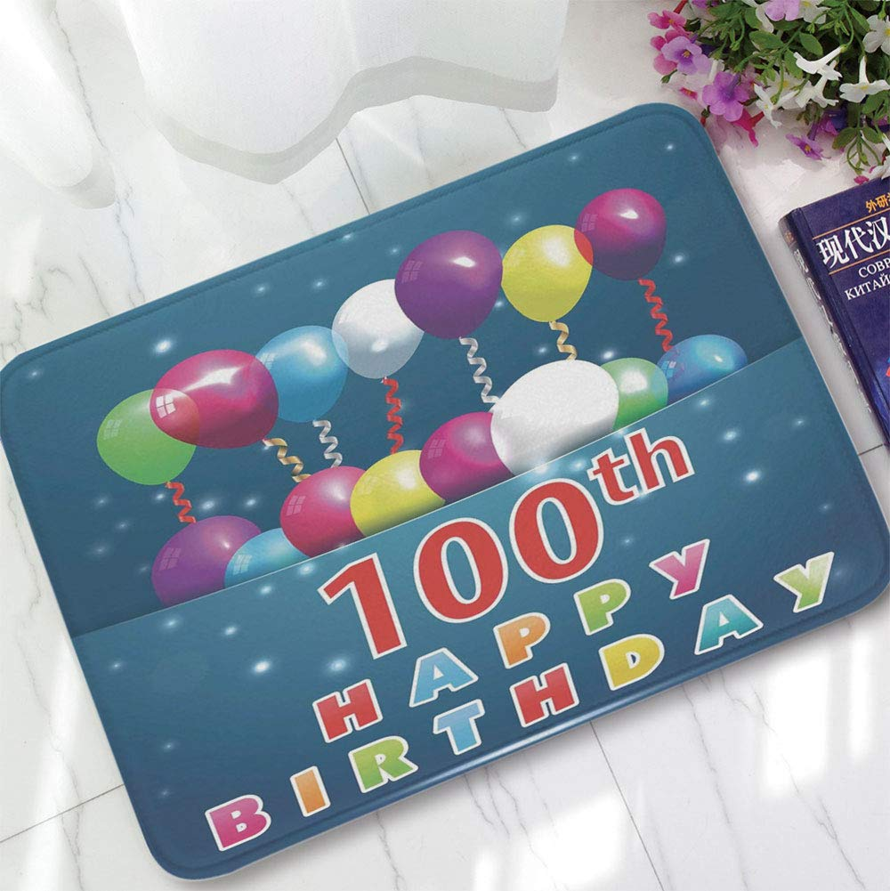 YOLIYANA Bath Mat,100th Birthday Decorations,for Dining Room Bathroom Office,15.75''x23.62'',Colorful Balloons on Star Like Dots