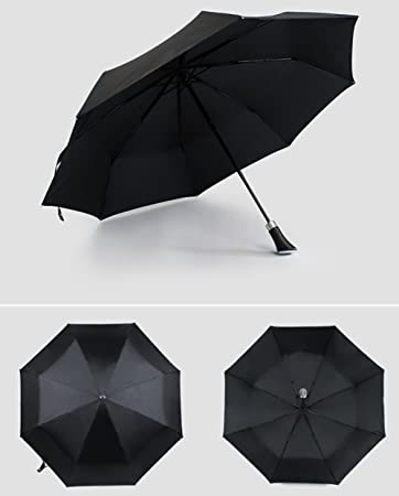 ZJM-umbrella Paraguas de Fibra de Carbono de Gran Tamaño Paraguas de Categoría Superior de Fibra de Vidrio Mango Largo/Plegable Paraguas (Tamaño ...